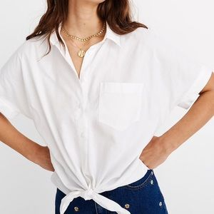 Madewell • Short-Sleeve Tie-Front Shirt White